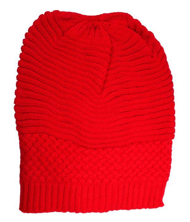 Jstarmart Red Winter Woollen Cap