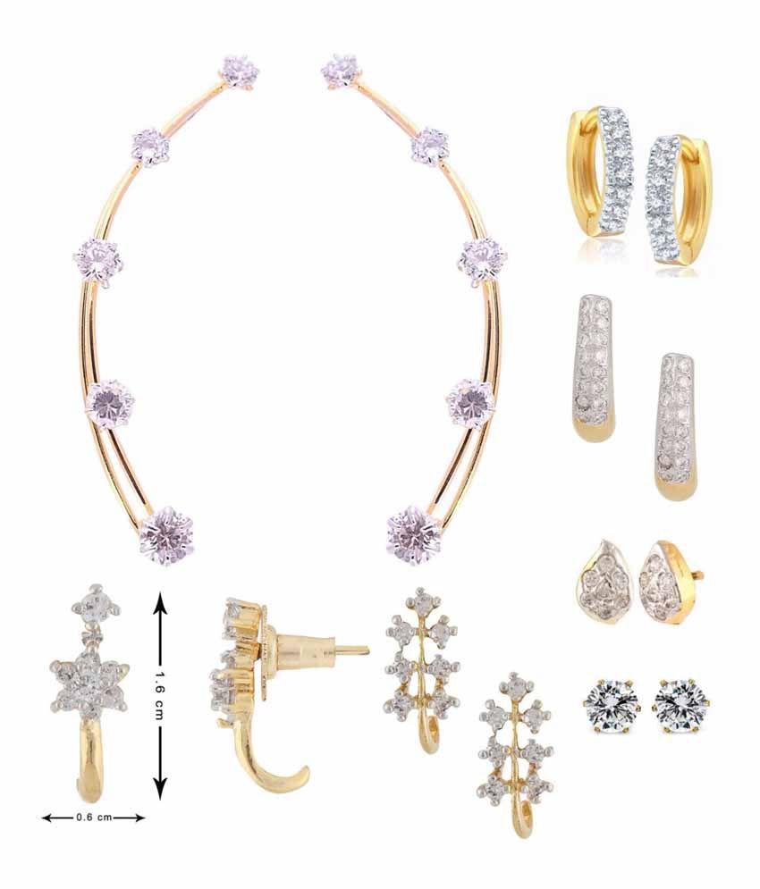 Parijaat Golden American Diamond Designer Earrings Combo