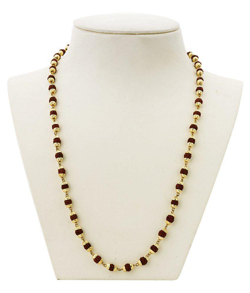 Bebold Gold Brass Link Gold Plated Rudraksha Mala Chain