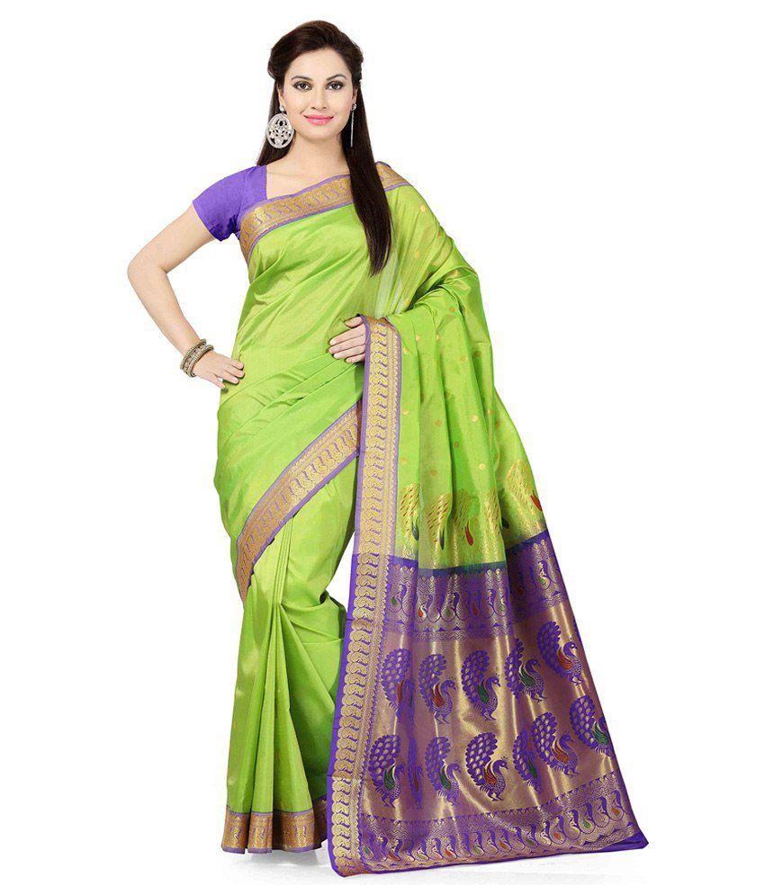 b1c95840379 Ishin Green Art Silk Saree - Buy Ishin Green Art Silk Saree Online at Low  Price - Snapdeal.com