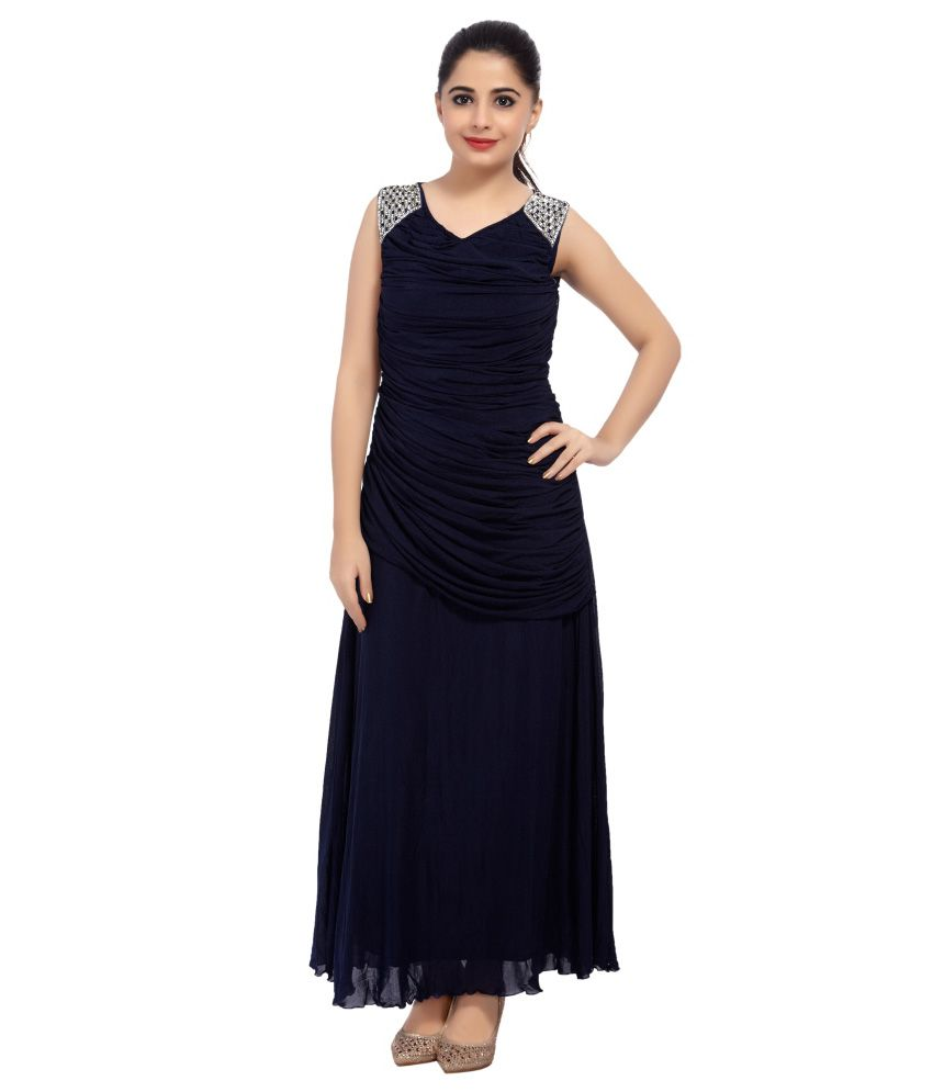 dca31ba6d69 Carrel Navy Net Maxi Dress - Buy Carrel Navy Net Maxi Dress Online at Best  Prices in India on Snapdeal