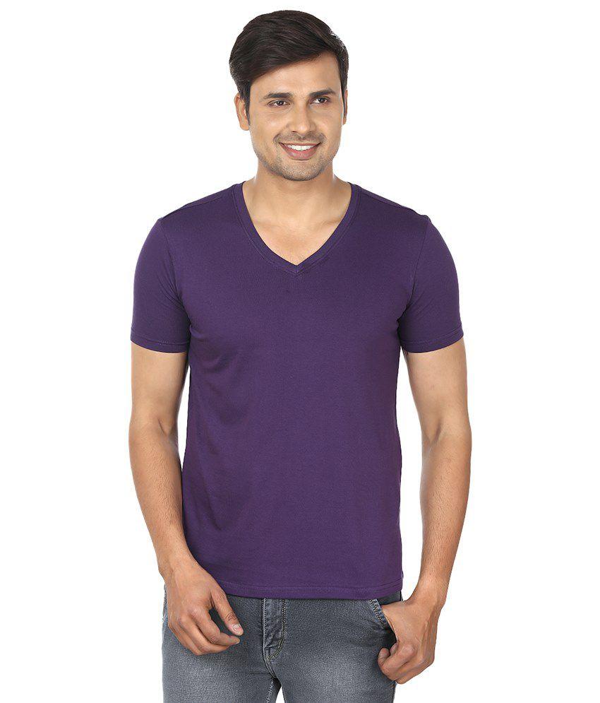 Fashionmania by Glanz Purple V-Neck T Shirts