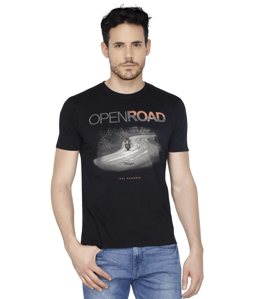 Wrangler Black Round T Shirts Single