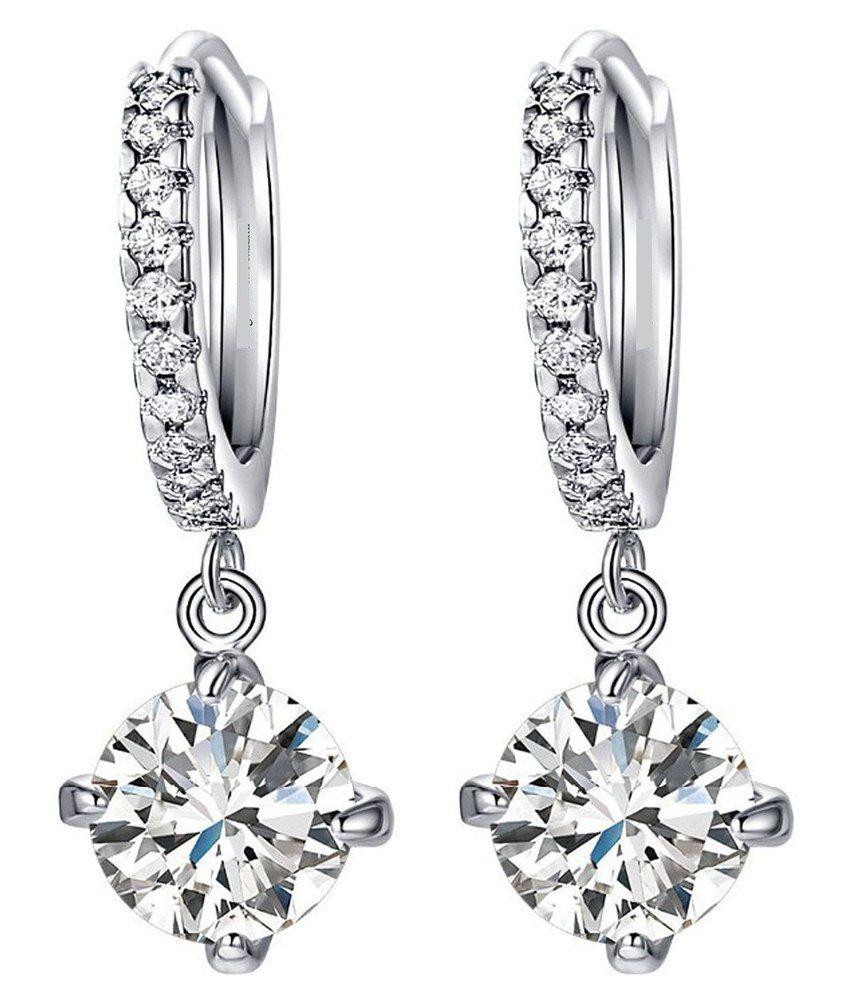 Caratcube 18K White Gold Plated Silver Austrian Crystal Hoop Earrings