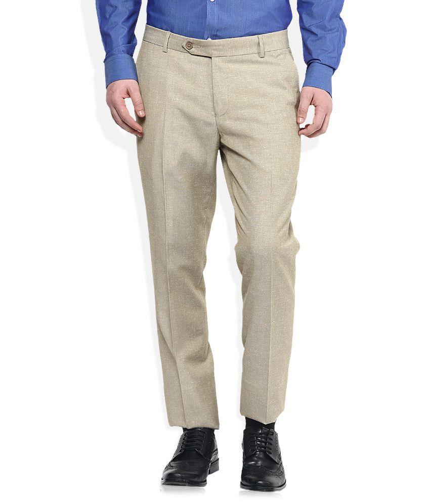 John Players Beige Slim Fit Trousers