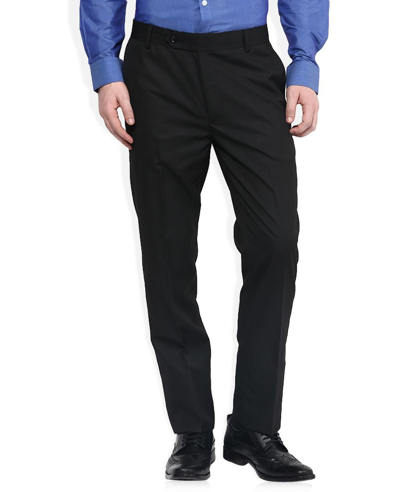 John Players Black Regular Pleated Trouser