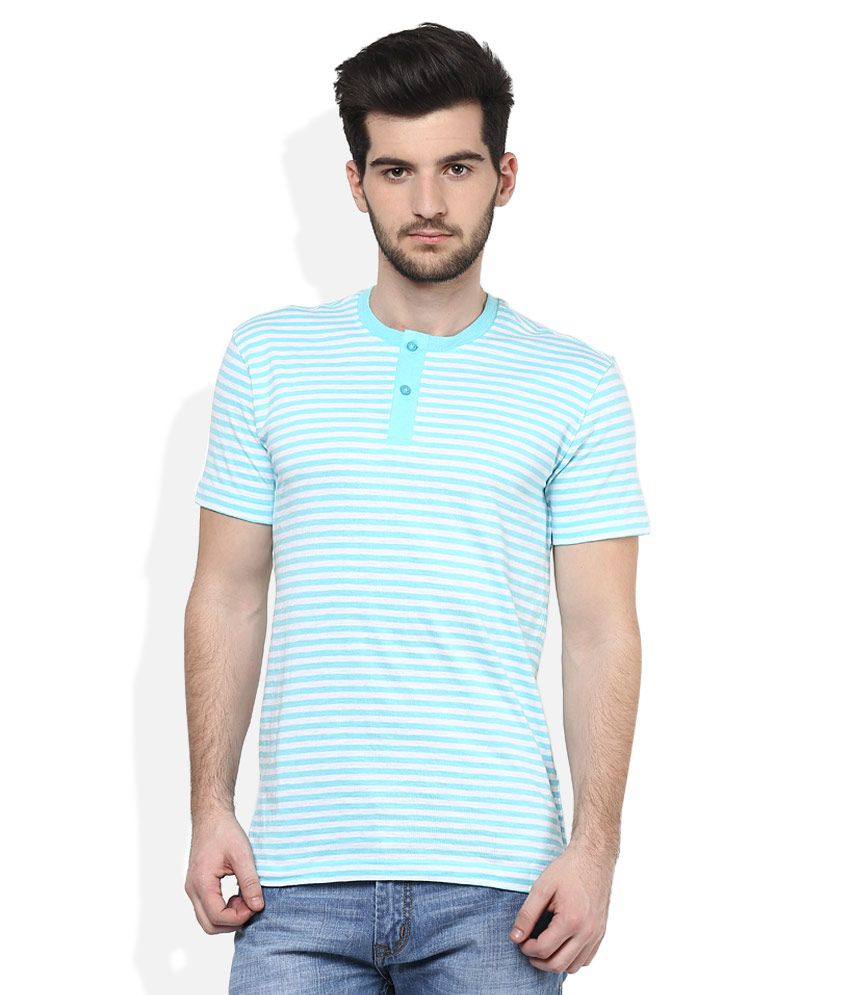 John Players Blue Henley Neck T Shirt