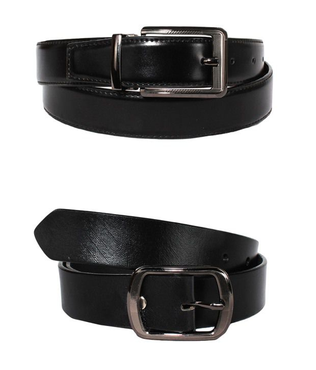 Lenin Black Leather Reversible Belt for Men - Pack of 2