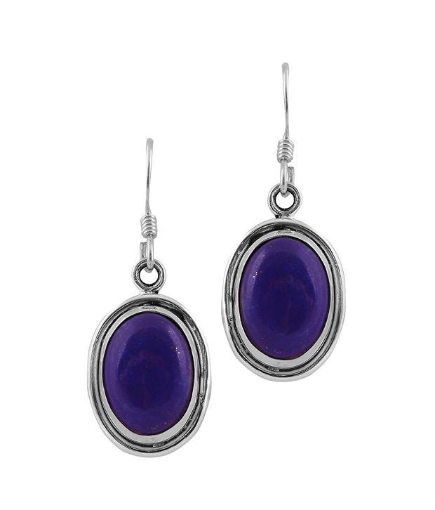 0733ef97911e2 Zivah 92.5 Silver Lapiz Lazuli Drop Earrings