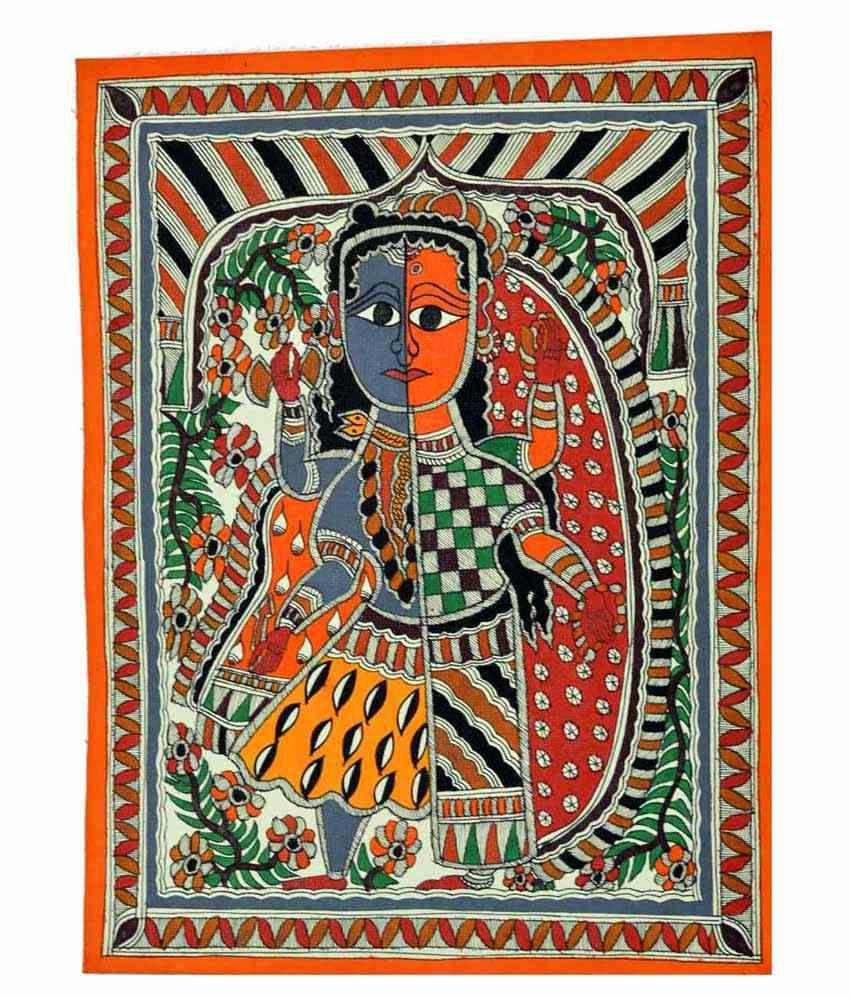 Craftuno Multicolour Ardhnareshwar Painting