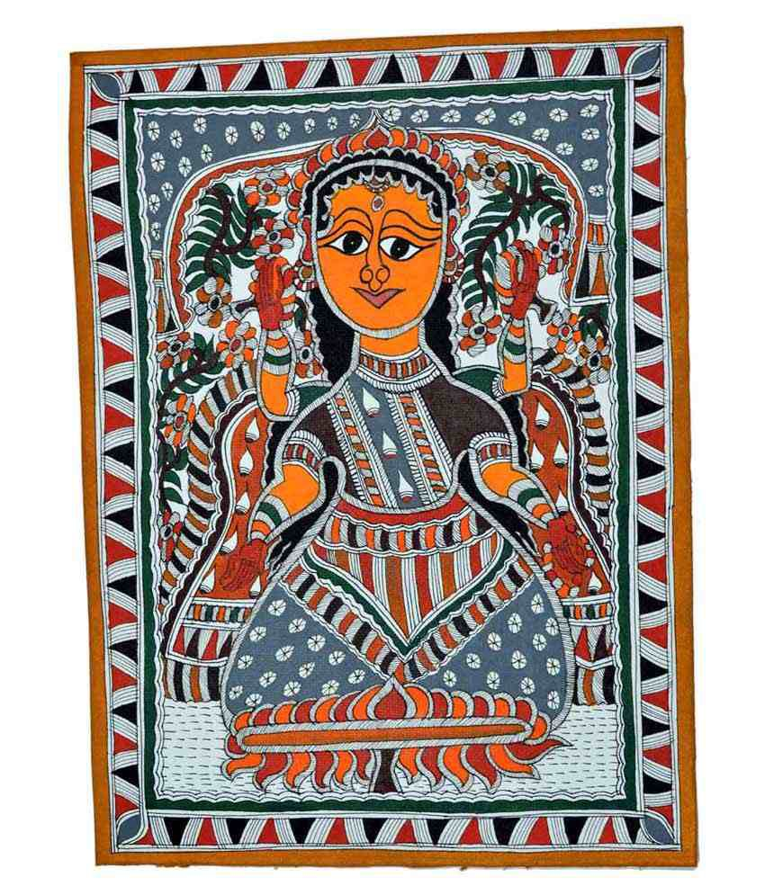 Craftuno Multicolour Goddess Lakshmi Painting
