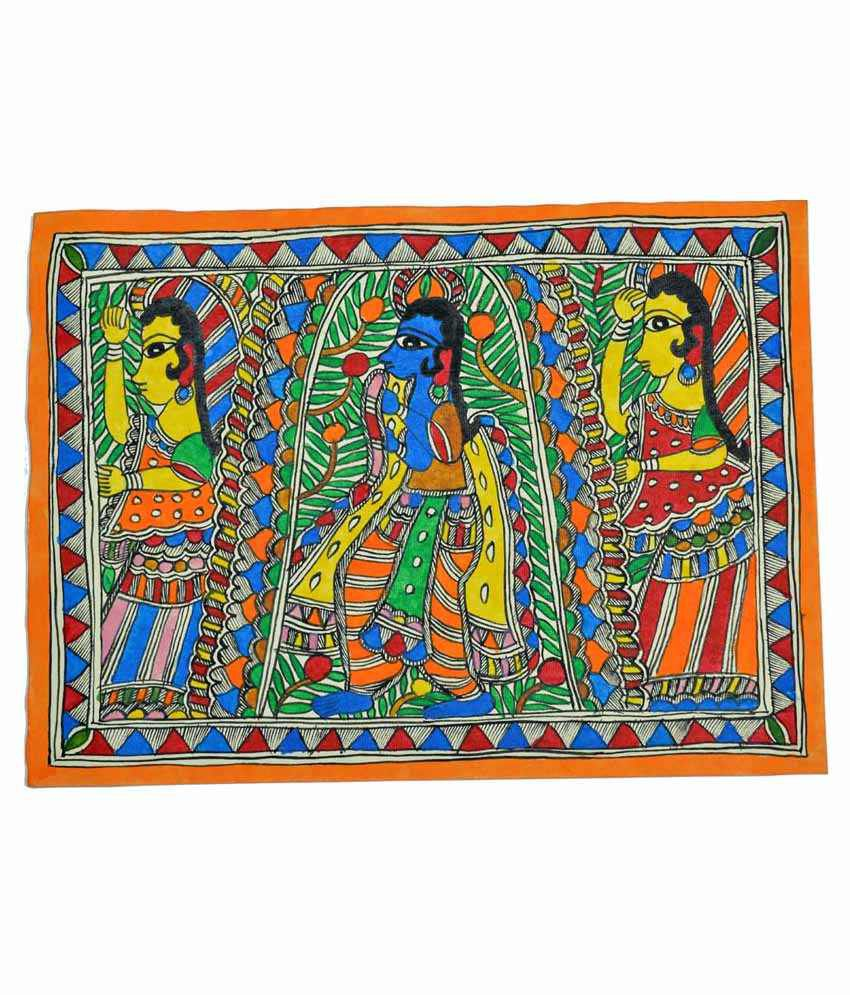 Craftuno Multicolour Lord Krishna & Gopi Painting
