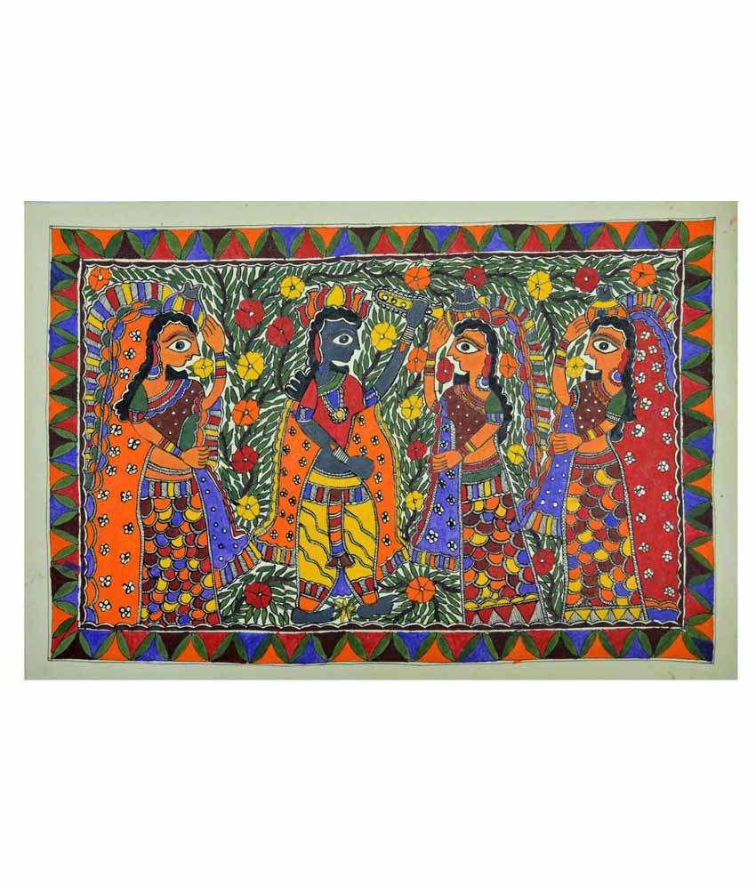 Craftuno Multicolour Lord Krishna & Gopi Painting