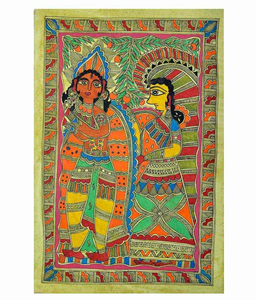 Craftuno Multicolour Radha Krishna Painting