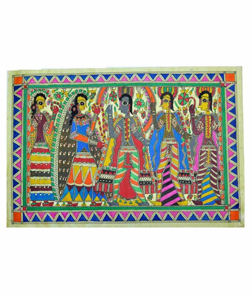 Craftuno Multicolour Varmala Painting