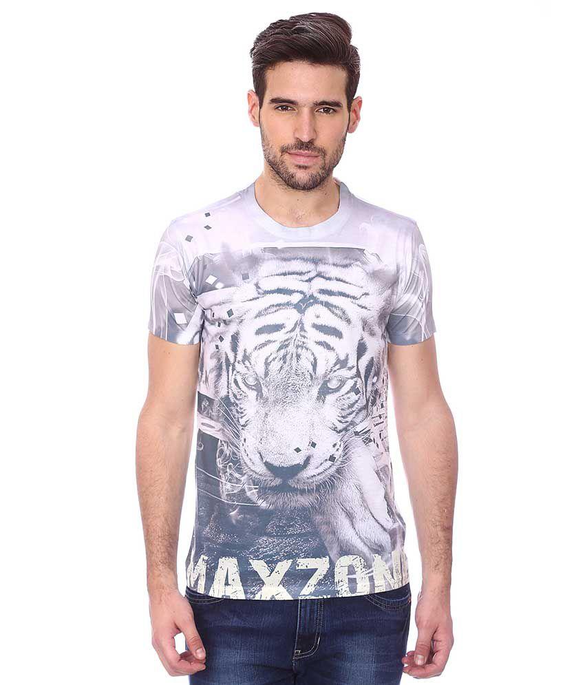 Maxzone Grey Round T Shirts