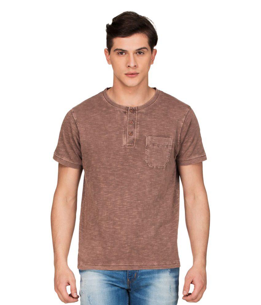 Zovi Brown Henley T Shirts