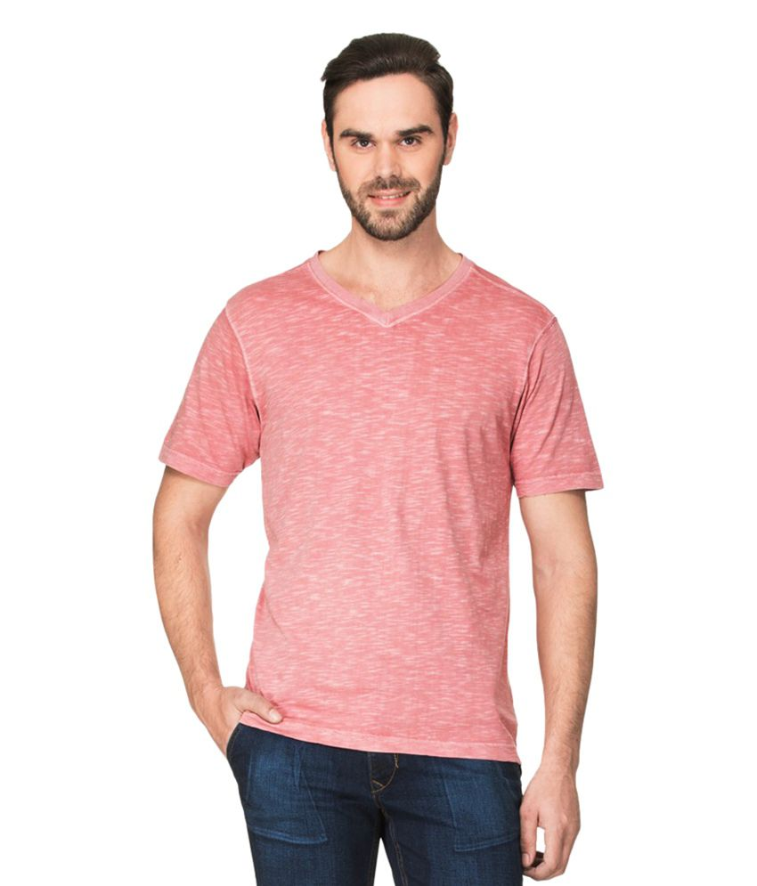 Zovi Peach V-Neck T Shirts