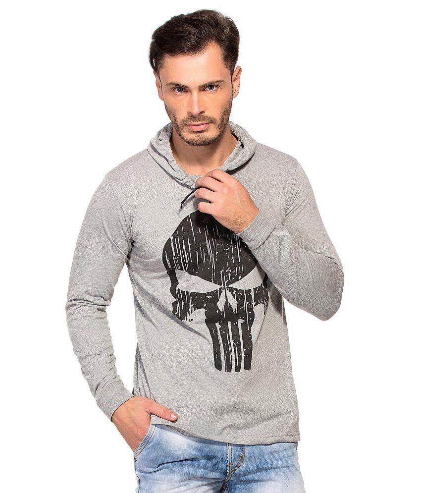 Alan Jones Clothing Grey Hooded T Shirts