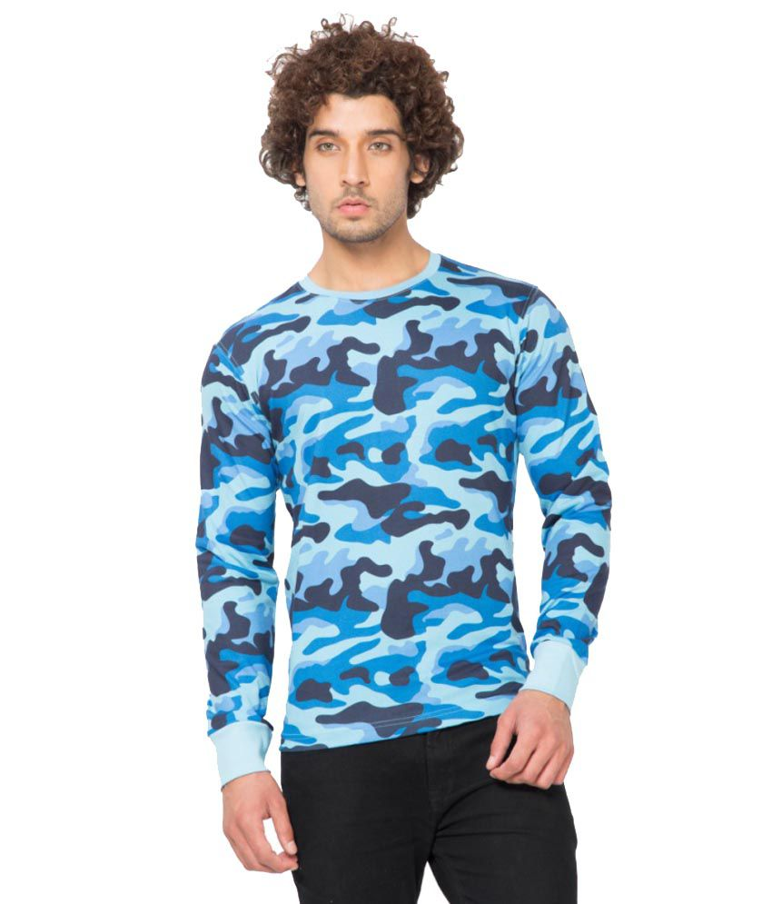 Clifton Fitness Men's Army R-Neck Full Sleeve T-shirt -Light Blue