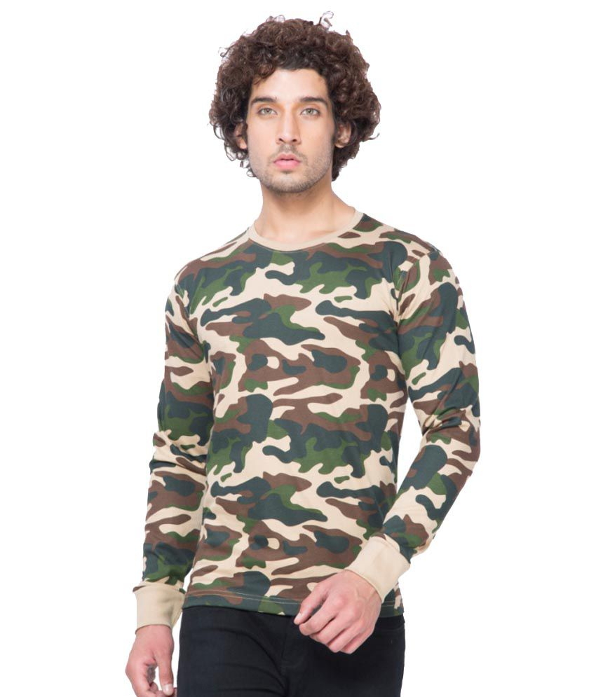 Clifton Fitness Men's Army R-Neck Full Sleeve T-shirt -Saffari