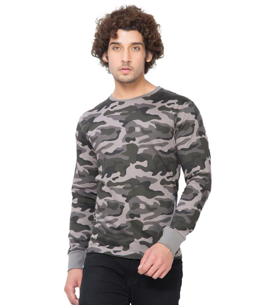 Clifton Fitness Men's Army R-Neck Full Sleeve T-shirt -Steel Grey