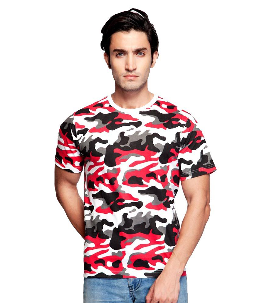 Clifton Fitness Men's Army T-shirt -White/Red