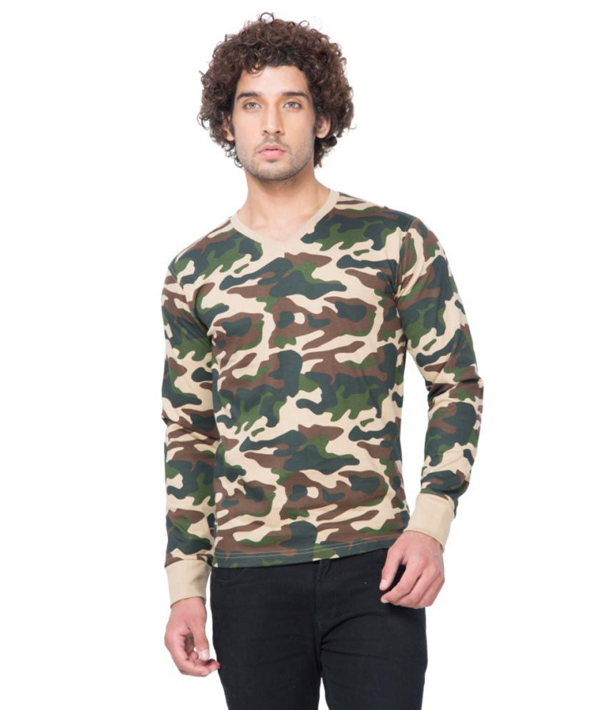 Clifton Fitness Men's Army V-Neck Full Sleeve T-shirt -Saffari
