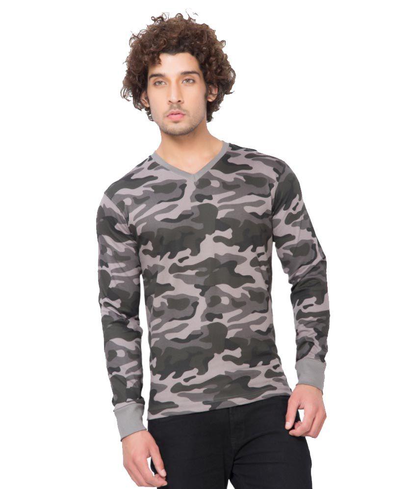 Clifton Fitness Men's Army V-Neck Full Sleeve T-shirt -Steel Grey