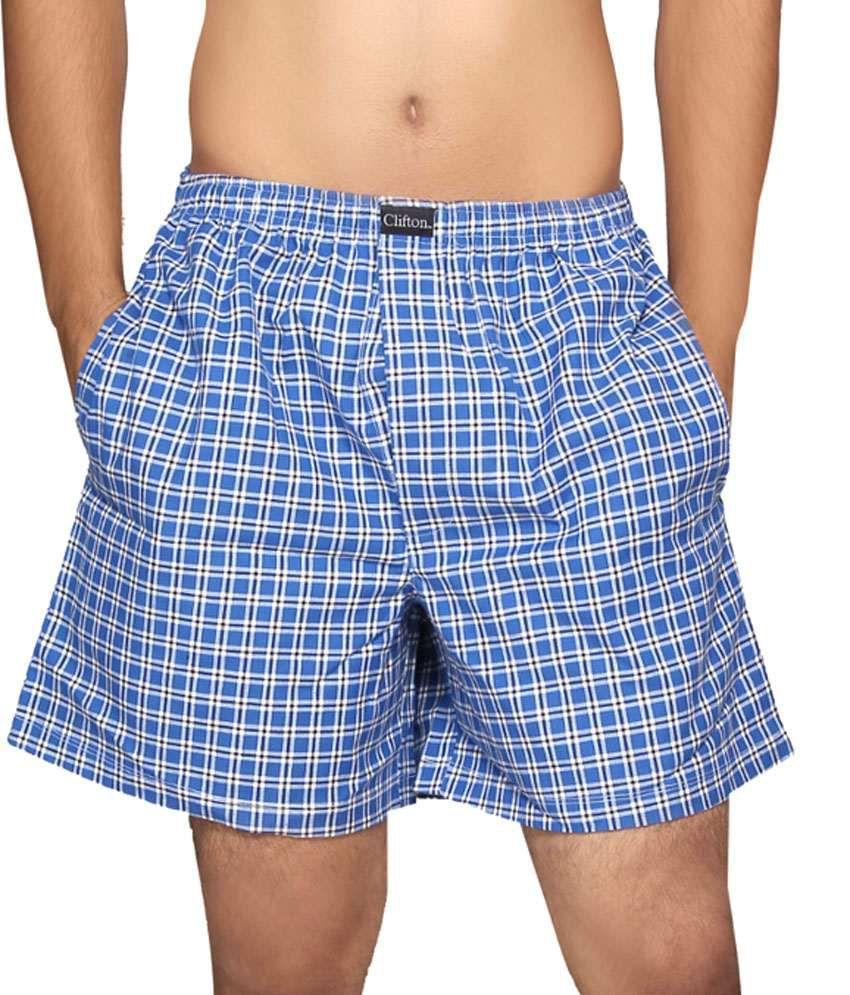 Clifton Fitness Men's Boxer -Blue White Checks