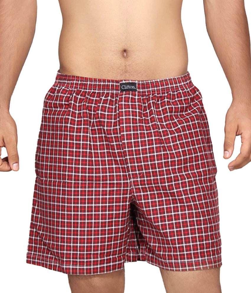 Clifton Fitness Men's Boxer -Maroon Red Checks