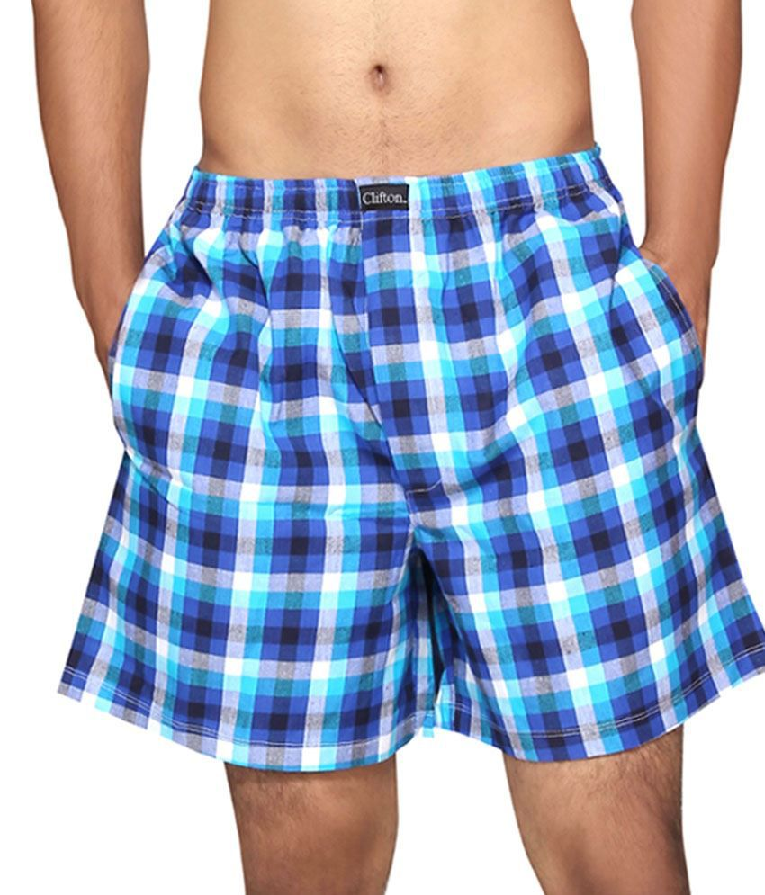 Clifton Fitness Men's Boxer -Royal Blue White Checks