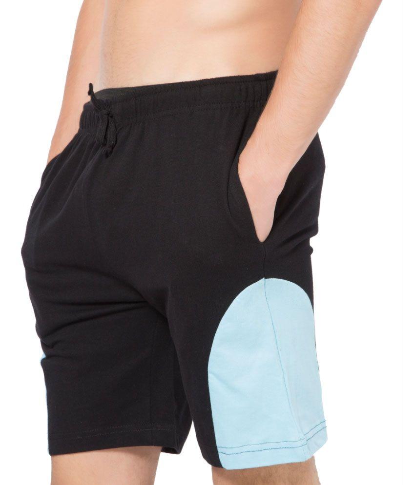 Clifton Fitness Men's Shorts -Black-Light Blue