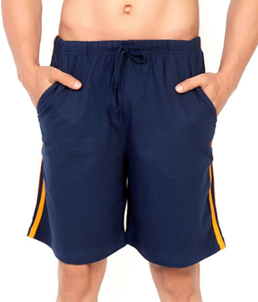 Clifton Fitness Men's Shorts Stripes -Navy/Bright orange