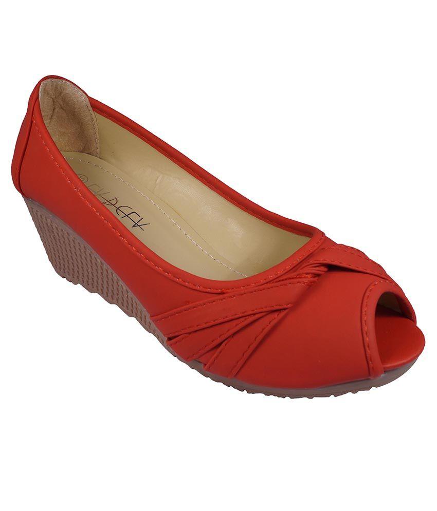 Ladela Red Wedges Heels