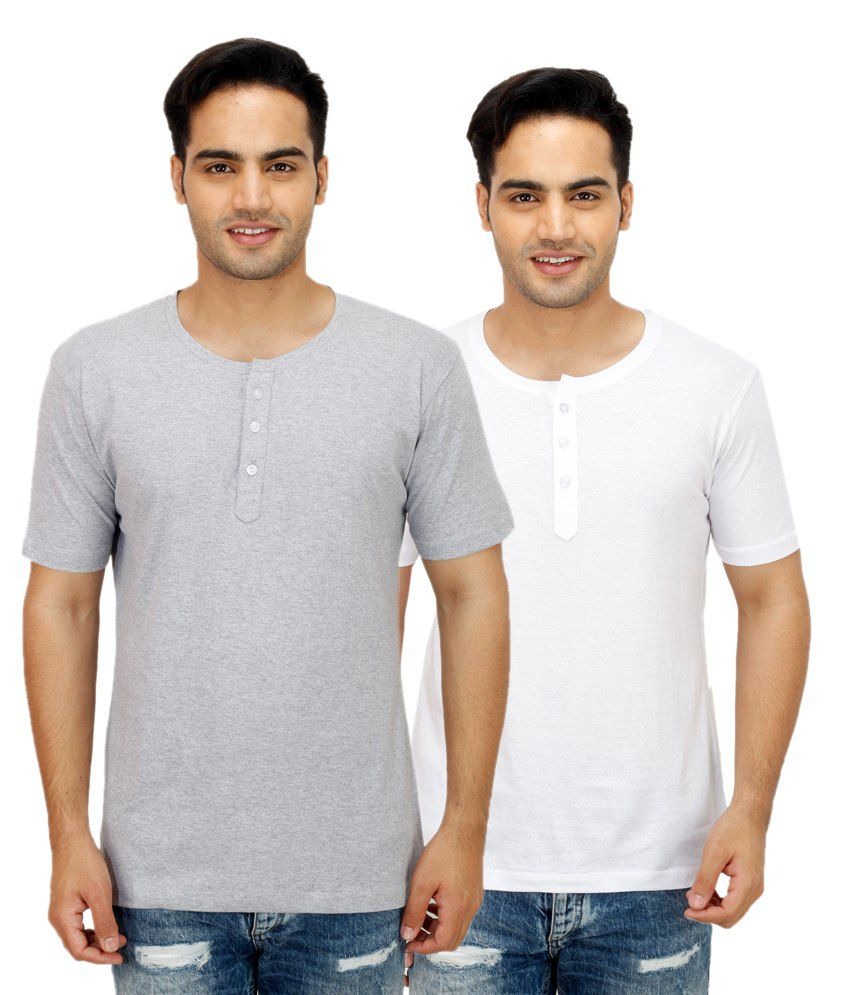 Christy's Collection White Henley T Shirts With Grey T-Shirt