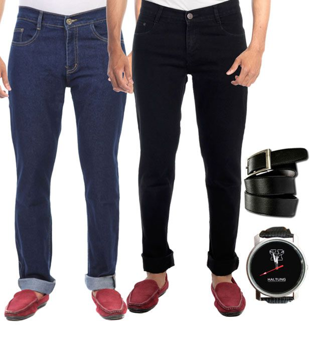 Hultung Combo Of 2 Mens Denim Jeans With Free Watch And Belt