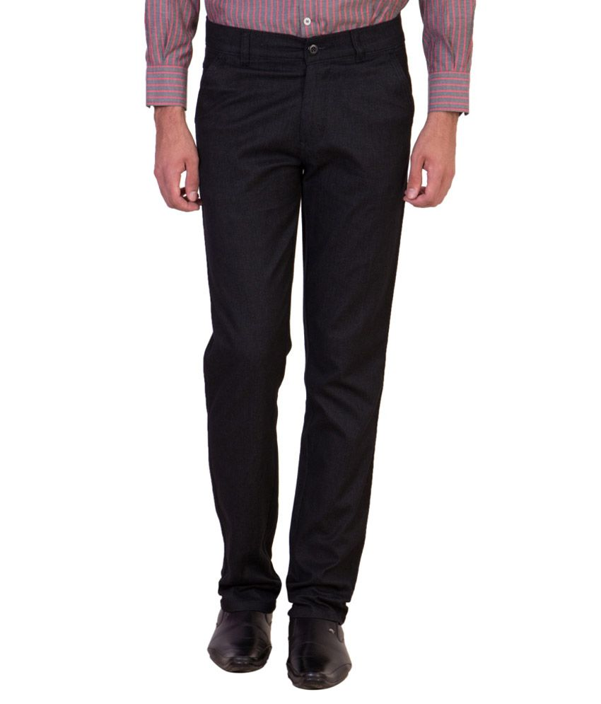Maciej Black Regular Fit Flat Trousers