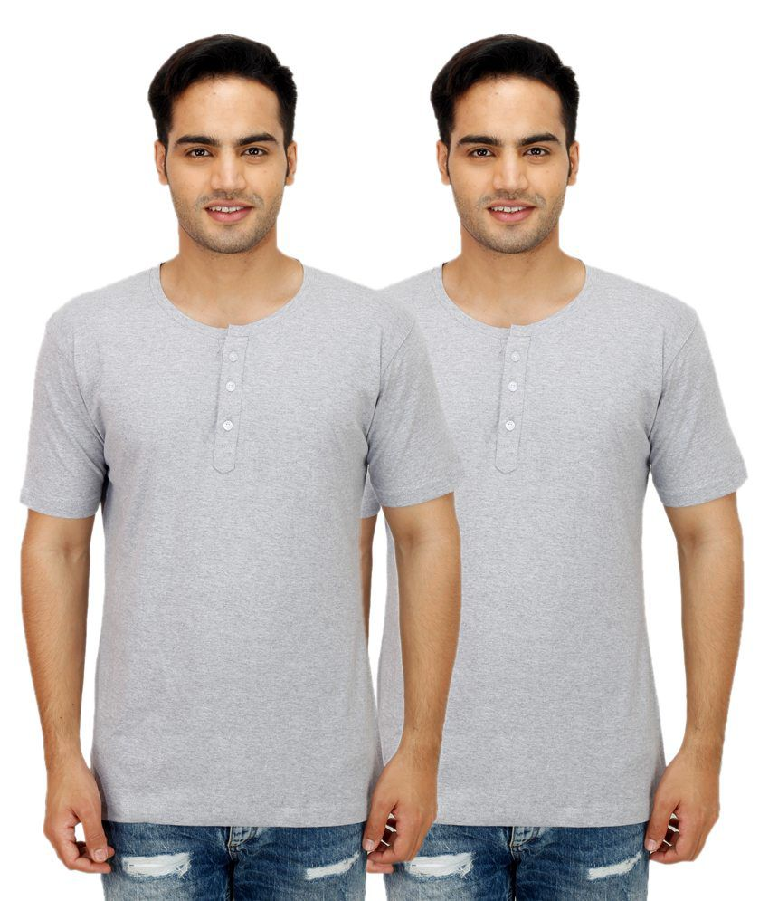 Rakshita's Collection Grey Henley T Shirts Pack Of 2