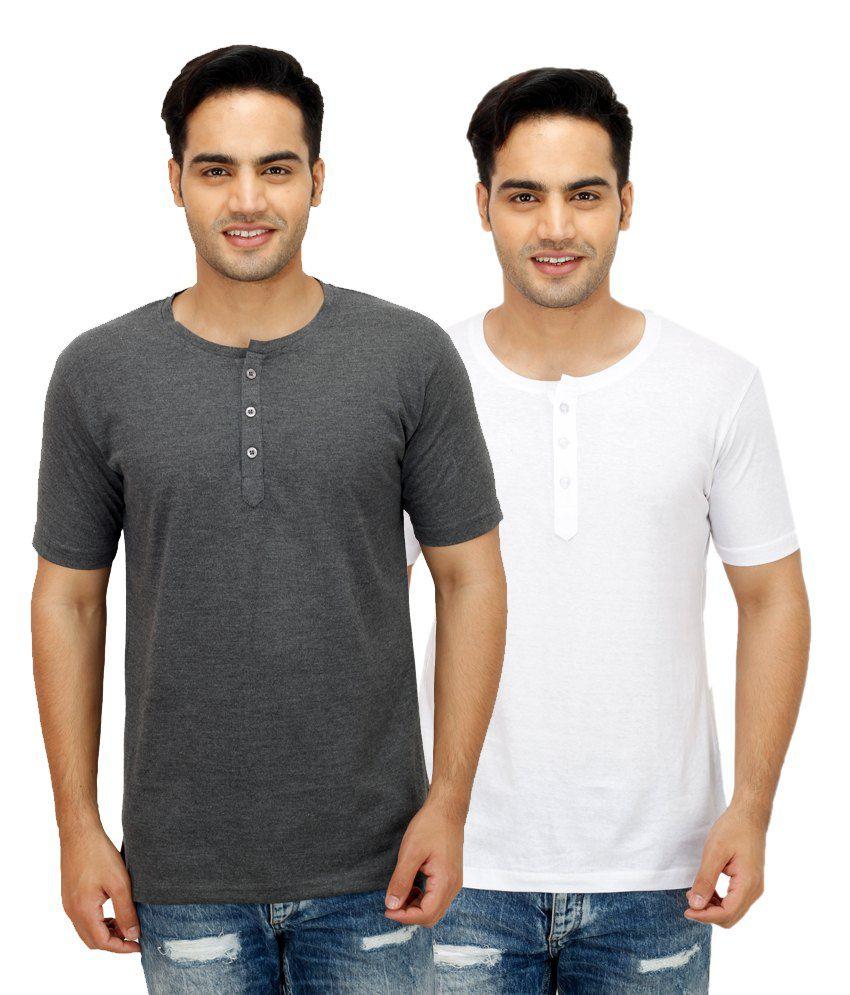 Rakshita's Collection White Henley T Shirts With Grey T-Shirt