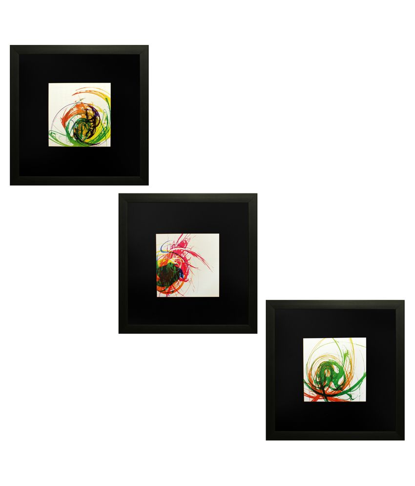 SAF Textured Wooden Abstract Painting With Frame -Set of 3