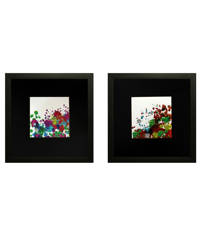 SAF Textured Wooden Abstract Painting With Frame-Set of 2