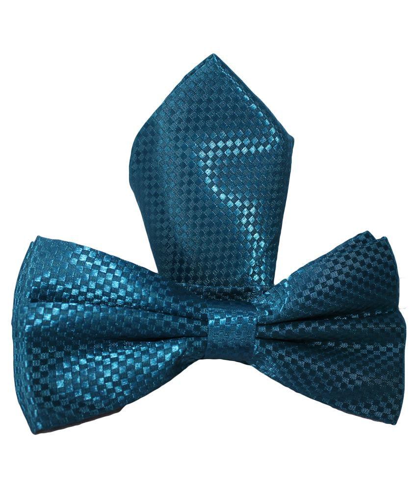 Uspa.Polo Blue Silk Combo Of Bowtie & Pocket Square