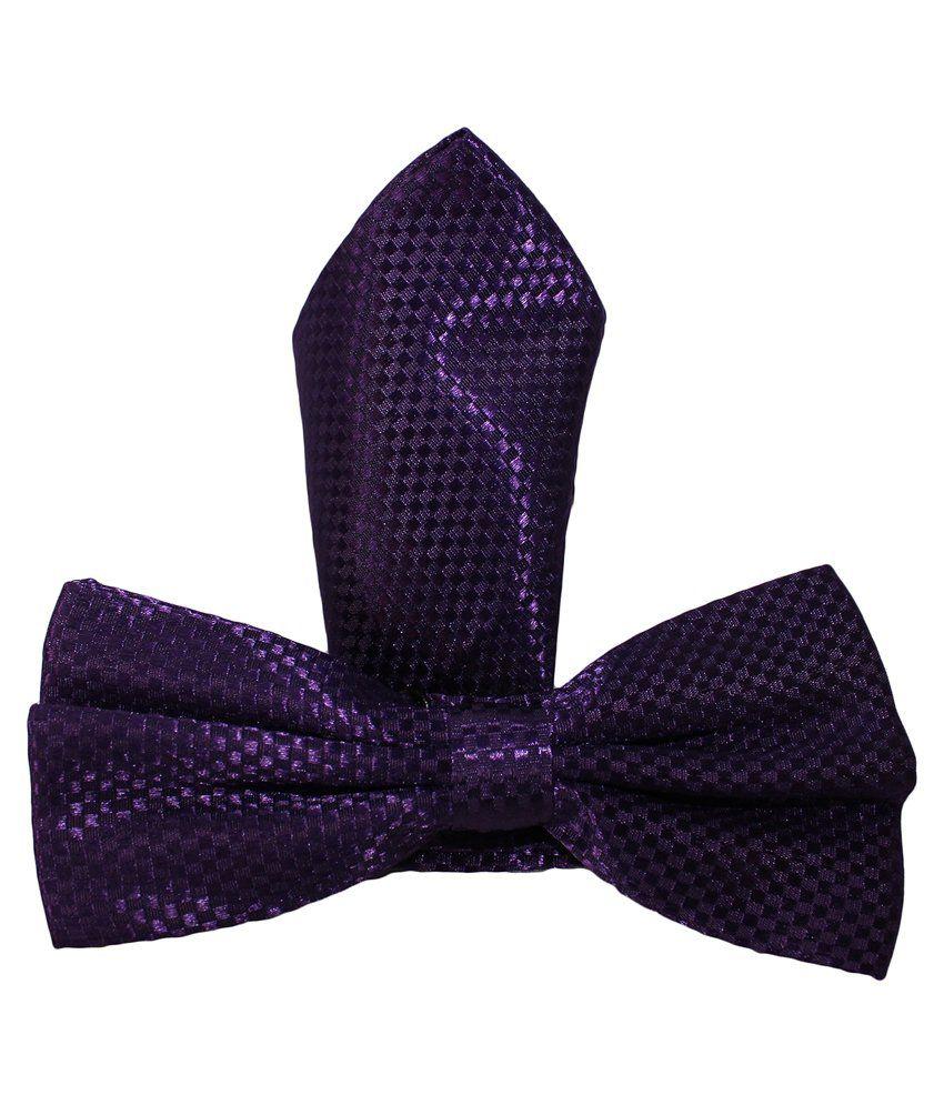 Uspa.Polo Purple Silk Combo Of Bowtie & Pocket Square