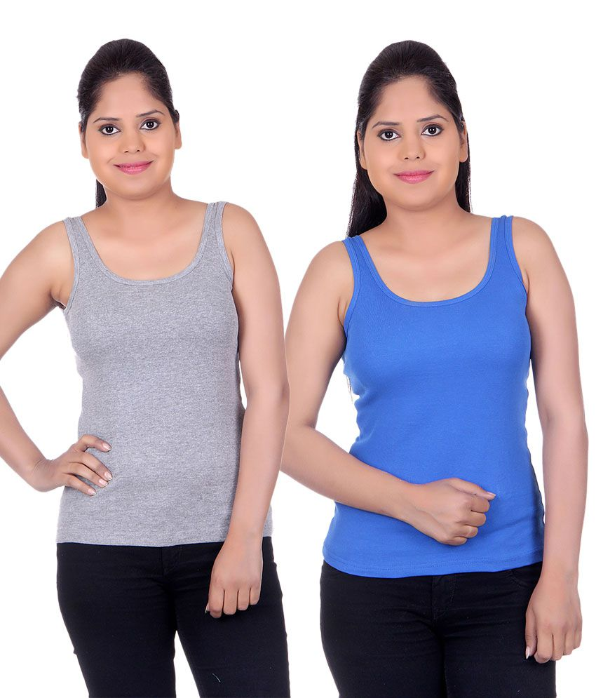 White Moon Multi Color  Camisoles Pack of 2