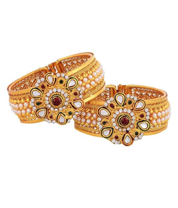 Zeneme Antique Gold Plated Bangles
