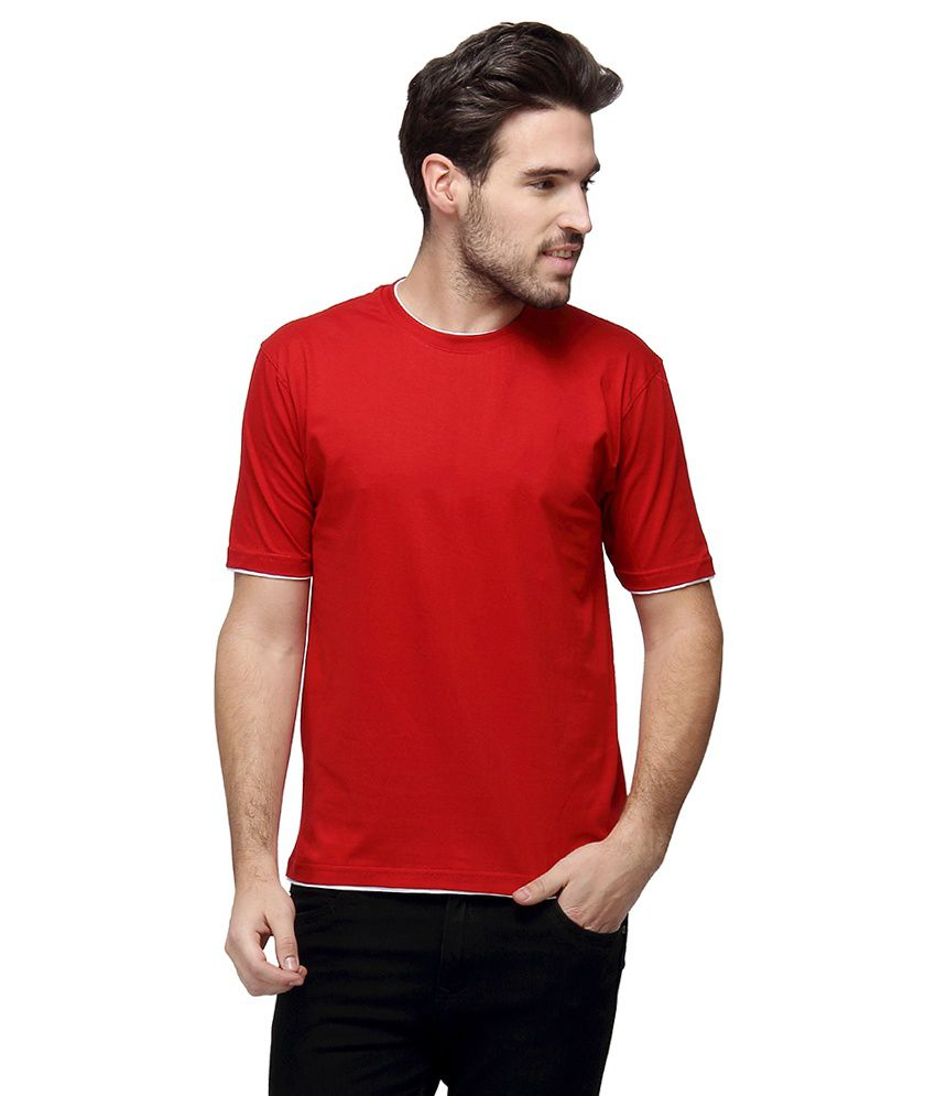Campus Sutra Red Round T Shirts Single