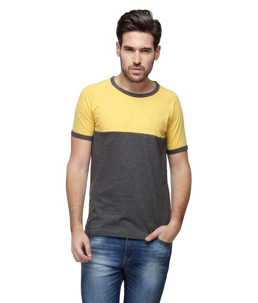 Campus Sutra Yellow Round T Shirts Single