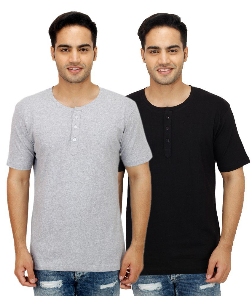 Christy World Black Henley T Shirts With Grey T-Shirt