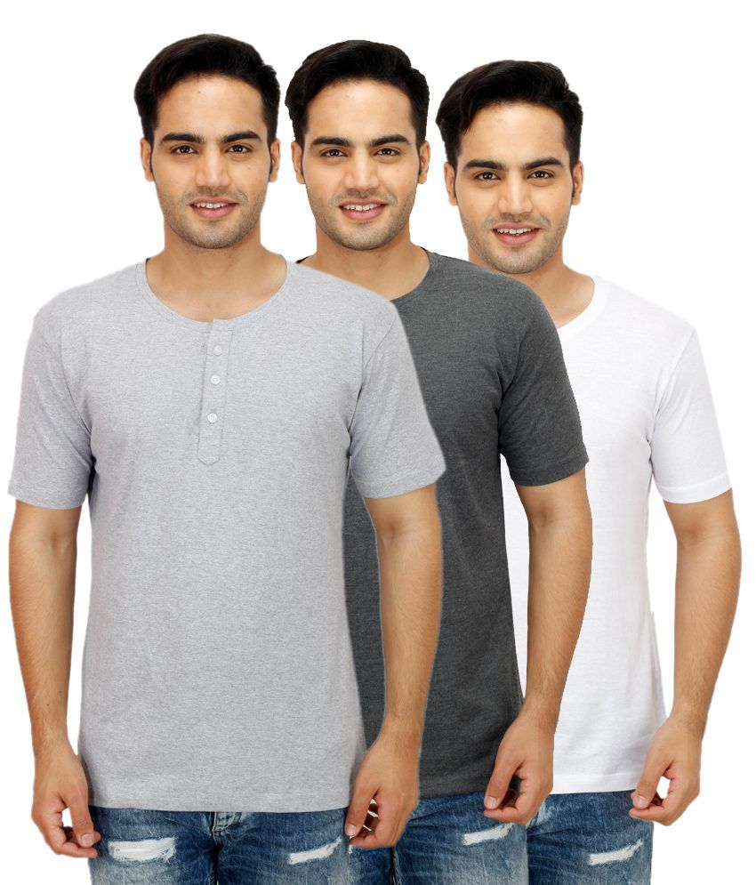 Christy World Grey Henley T Shirts Pack of 3